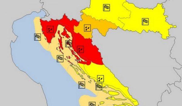 Danas narandžasti meteoalarm u Hrvatskoj