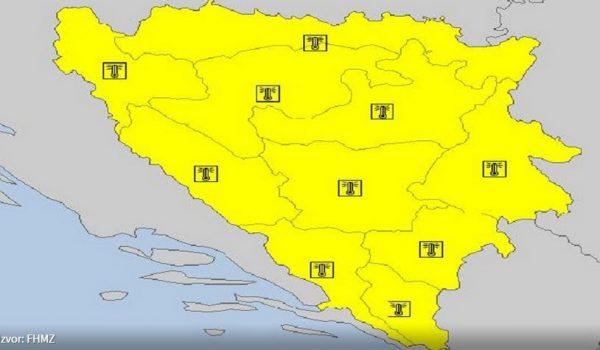 Žuti meteoalarm za cijelu BiH